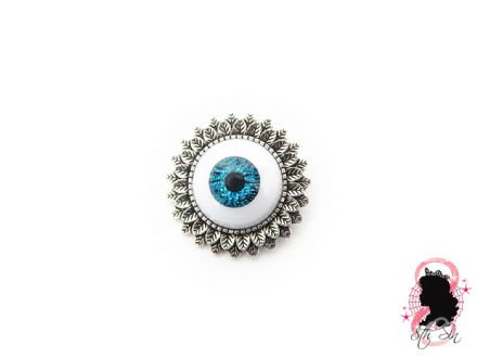 Antique Silver and Blue Eyeball Brooch